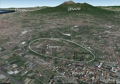Google Earth view of Pompeii and Vesuvius. Pyroclastic flows avalanched 10 miles down the slopes to bury the city.