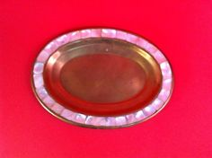 VINTAGE BRASS TRAY MOTHER OF PEARL DECOR INLAY SALT & PEPPER SHAKER TRAY INDIA