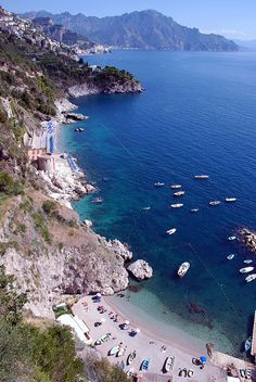 Conca dei Marini Beach, Amalfi, Italy Beautiful Places In The World, Places Around The World, Travel Around The World, Wonderful Places, Beautiful Beaches, Around The Worlds, Amazing Places, Vacation Destinations, Dream Vacations