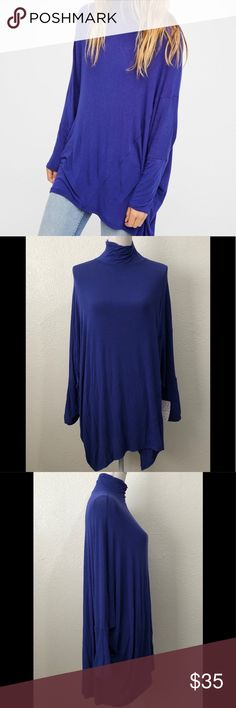 "Free People Turtleneck Dolman Tunic Top Sz Medium NWT Free People We The Free Terry Turtleneck tunic. Color: Ocean (blue). Size medium. 81% rayon, 14% wool, 5% spandex. Style OB677571. Dolman Sleeves. Oversized top. Approximate length 32.5"". Retail $78.  G82 Free People Tops Tunics"