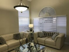 Living Room with Zebra Illusion Privacy Shades & Arch Plantation Shutters by Elite Decor Miami Privacy Shades, Shutters, Illusion, Blinds, Miami, Arch, Curtains, Living Room, Home Decor
