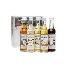 Monin Coffee Syrup Gift Set. Includes 5 50ml bottles of caramel, vanilla, hazelnut, gingerbread and chocolate chip cookie flavoured syrups, specially selected to complement coffee.