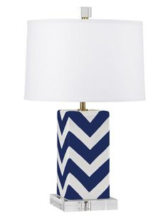 Navy and white lamp in preppy chevron #hgtvmagazine #HighLow http://www.hgtv.com/decorating-basics/the-highlow-shopping-guide/pictures/page-54.html?soc=pinterest