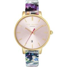 Ted Baker London Women's Kate Leather Strap Watch ($77) ❤ liked on Polyvore featuring jewelry, watches, gold-tone watches, pink jewelry, buckle jewelry, dial watches and buckle watches