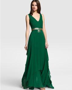 Vestido de mujer Tintoretto verde con strass