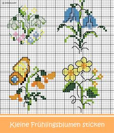 Embroidering small spring flowers - Zweigart & Sawitzki GmbH & Co. KG - Embroider small spring flowers stitch / - Tiny Cross Stitch, Cross Stitch Needles, Cross Stitch Cards, Cross Stitch Flowers, Chain Stitch, Cross Stitch Designs, Cross Stitching, Cross Stitch Embroidery, Cross Stitch Patterns