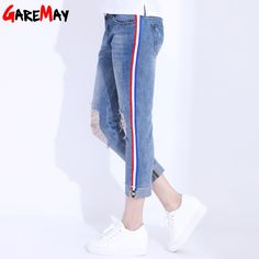 3a0f21d44c4 Hole Ripped Jeans Pants Women Curling Denim Side Stripe Knee Ripped Jeans  Female Straight Ankle Length