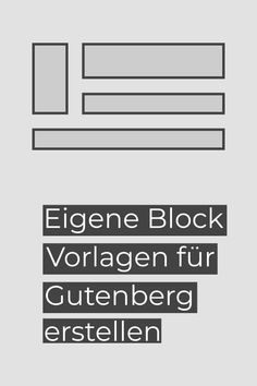 Block Vorlagen sind eine tolle Neuerung in WordPress 5.5. Sie können die Arbeit wesentlich erleichtern. In diesem Tutorial zeige ich Dir, wie Du eigene Block Vorlagen erstellen kannst. Wordpress, Tech Companies, Company Logo, Logos, Interesting Facts, Amazing, Templates, Tips, Logo