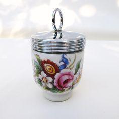 Vintage Royal Worcester Egg Coddler / Egg Cooker / Porcelain Egg Cup, Pink Roses by WhimzyThyme on Etsy