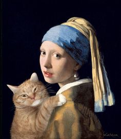 Johannes Vermeer Girl with a Pearl Earring and a Ginger Cat by Fat Cat Art Johannes Vermeer, Famous Art Paintings, Classic Paintings, Fat Cats, Cats And Kittens, Kitty Cats, I Love Cats, Crazy Cats, Girl With Pearl Earring