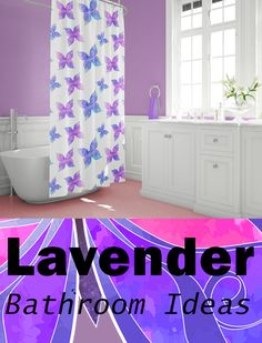 Art contemporary bathroom decor. The hand-designed and carefully crafted beautiful butterfly shower curtain makes for versatile bathroom decor. Excellent for the hall and children/teen bathroom decor.  Looking for guest bathroom ideas? The white countertops and cabinets accent the lavender wall and give the bathroom and open but welcoming feel. #lavenderbathroom #bathroomideas