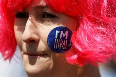 A woman with a sticker of her face attends a 'March for Europe' demonstration against Britain's decision to leave the European Union, in central London, Britain July 2, 2016.  REUTERS/Tom Jacobs