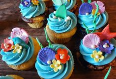 Here are some Little Mermaid themed cupcakes I made for a birthday. The Ariel and Flounder are made out of decorating chocolate and th. Little Mermaid Cupcakes, Sea Cupcakes, Disney Cupcakes, Themed Cupcakes, Birthday Cupcakes, Cupcake Cakes, Kitty Cupcakes, Mermaid Birthday Cakes, Moana Birthday Party