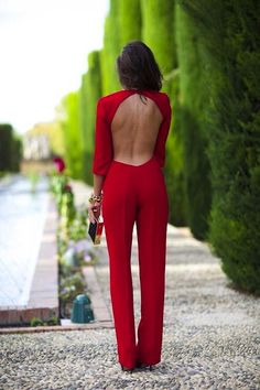 This backless jumpsuit would be perfect for an event!