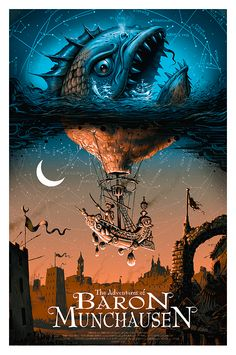 The Adventures of Baron Munchausen - silkscreen movie poster (click image for more detail) Artist: Jeff Soto Venue: N/A Location: N/A Date: 2014 Edition: numbered only Size: x Condition: Mais Kunst Poster, Alternative Movie Posters, Anime Kunst, Movie Poster Art, Wow Art, Geek Art, Cultura Pop, Cool Posters, Art Posters
