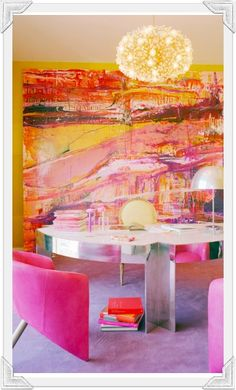 CORPORATE HEADQUARTERS: Kelly Wearstler's Office I love how she uses this abstract canvas