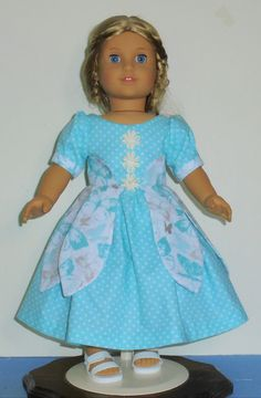 Teal Petal style dress designed for American Girl 18 inch doll   No. 668 by MargaretteDesigns4AG on Etsy