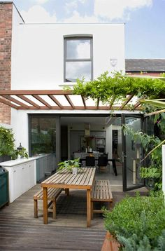 Exterior: Wooden Pergola With Climbing Plant In Modern Small Patio Idea Plus Cool Wooden Alfresco Dining Furniture: Terrific Backyard Home Decoration by Small Patio Ideas Garden Room, Outdoor Dining, Home And Garden, Outdoor Decor, Patio Design, New Homes, House, Garden Design, Victorian Homes
