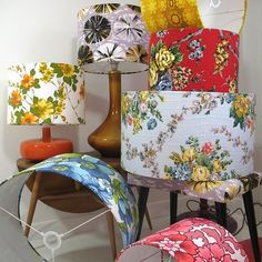 Vintage fabric covered lampshades Vintage Textiles, Upcycled Textiles, Vintage Prints, Lamp Bases, Fabric Lampshade, Lampshade Ideas, Vintage Lamps, Granny Chic, Vintage Sheets