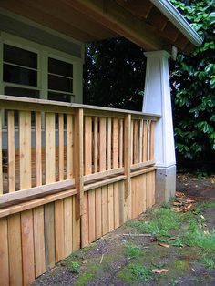 Here you can get a good look at the back porch railing, skirting, and that Craftsman style column.