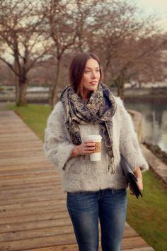 Fuzzy jacket + distressed denim skinnies