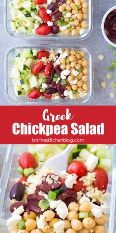 This Meal Prep Greek Chickpea Salad with couscous is great for prepping ahead for lunch! Portion it out into individual lunch bowls, or serve it as a side dish. #mealprep #chickpeasalad