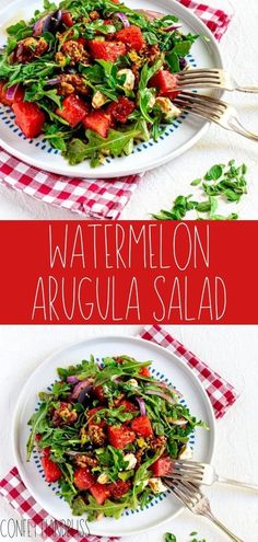 This watermelon arugula salad & balsamic glaze is a must try salad for this summer! It's fresh, quick, and super easy! You can learn exactly how to make it here! Fresh Salad Recipes, Summer Salad Recipes, Salad Recipes For Dinner, Summer Salads, Healthy Recipes, Watermelon Arugula Salad, Greek Salad, Easy Salads, Quick Easy Meals