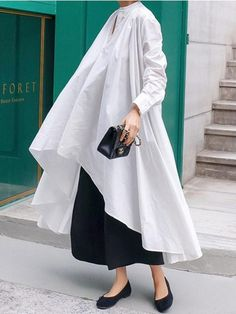 Urban White High-low Lace-up Blouse Dress – uoozee Muslim Fashion, 80s Fashion, Fashion Dresses, Fashion Hacks, Classy Fashion, Midi Dresses, Spring Dresses, French Fashion, Modest Fashion