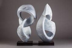 Pair of blue alabaster sculptures
