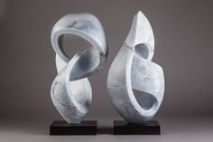 Pair of blue alabaster sculptures