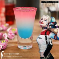 "60.7k Likes, 1,672 Comments - TIPSY BARTENDER (@tipsybartender) on Instagram: ""SUICIDE SQUAD SHOTS...Harley Quinn! Fun and easy to make! Click on the link in my bio see the full…"""