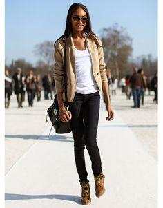 camel blazer + black skinny jeans