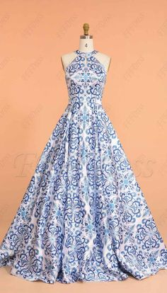 Halter print floral ball gown prom dresses long #shortpromdress