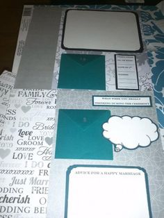 The Scrapbook Guestbook and notes :  wedding anniversary letters black diy notes photo booth guest books photobooth scrapbook silver teal white Two Sheets