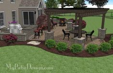 If you like winding curves, our Large Paver Patio Design with Pergola and Grill Station + Bar will help you turn your backyard into a perfect, enjoyable escape. Large Backyard Landscaping, Backyard Patio Designs, Pergola Designs, Landscaping Ideas, Diy Pergola, Small Pergola, Pergola Ideas, Patio Ideas, Backyard Ideas