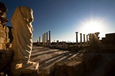 Mi alma reconoció tu voz... Columns of the Gymnasium at sunset.  Ruins of the ancient city of Salamis, near Famagusta.   Northern Cyprus.