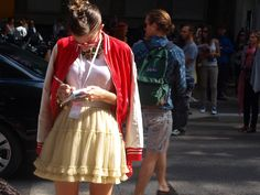 A classic varsity jacket worn in Milan. (Photo: Joice Preira)