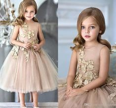 Flower Girls Dresses For Weddings Champagne Tulle Appliques Tea Length A Line Girls Pageant Gowns Zipper Back Customized Kids Party Dress Girls Dresses Size 6 Infant Flower Girl Dresses From Sexypromdress, $75.38| Dhgate.Com