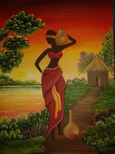 🌺**For more great pins go to African Drawings, African Art Paintings, Black Women Art, Black Art, Afrique Art, African Theme, Art Africain, African American Art, Tribal Art