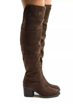 e17367249cc7 Bamboo Womens Premium Faux Suede Thigh High Stock High Heel Riding Boots  Color Brown Size 8     You can find more details by visiting the image link.