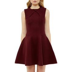 Ted Baker Azelia A-Line Dress, Maroon ($185) ❤ liked on Polyvore featuring dresses, red party dresses, a line midi dress, long-sleeve mini dress, red a line dress and sleeved maxi dress