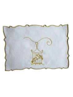 Birdcage Embroidered Linen Cocktail Napkin by Sharyn Blond Linens