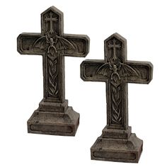 Features:  -Set include 2 statues.  -Material: Designer resin.  Product Type: -Statue.  Color: -Aged stone.  Style: -Contemporary.  Material: -Resin/Plastic.  Theme: -Religious.  Holiday Theme: -Yes.