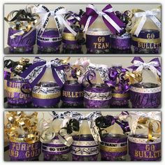 Ribbon and hot glue is all you need. Football Noise Makers, Football Cheer, Cheer Camp, Cheer Coaches, Cheerleading Gifts, Cheer Gifts, Cheer Dance, Team Gifts, Cheer Spirit Sticks
