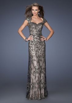 62052b3fdb95 Buy the 19274 Intricate Lace Beaded Evening Gown by La Femme at  CoutureCandy.com