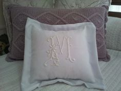 Bed Pillows, Initials, Pillow Cases, Embroidery, Facebook, Baby, Mariana, Toss Pillows, Blue Prints