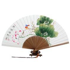 Abanico Blanco Pintado A Mano Desplegable en Papel de de Arroz de Morera Decoración Asia Oriental Arte de Bambú con Diseño de Flor de Loto Roja