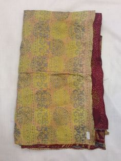 Vintage Silk Hand Quilted Kantha Circle Work Stoles Reversible Shawl Scarf 3478