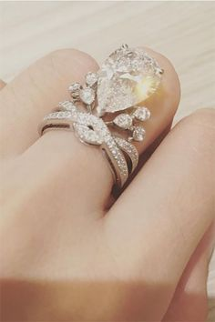 What A 1%er Wedding Looks Like #refinery29  http://www.refinery29.com/2015/11/97473/most-expensive-weddings-pictures#slide-3  Angela's (a.k.a. Angelababy's) $1.5-million ring (made by Parisian designer Chaumet) boasts a five-carat, pear-shaped diamond surrounded by a bunch of other diamonds, because why not?...