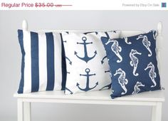 ON SALE Nautical pillow covers by WhimsicalDesignsbyMe on Etsy, $31.50